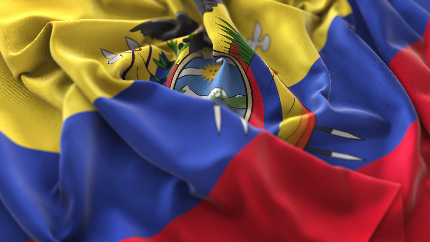 Ecuador Flag Ruffled Beautifully Waving Macro Close-Up Shot