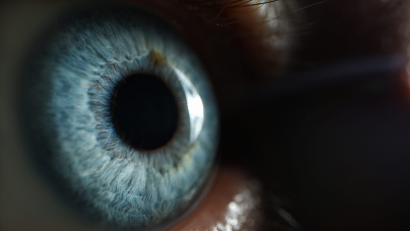Male blue eye closup super macro background. Selection of glasses and contact lenses concept